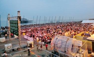 Pantalla gigante para ver los juegos olímpicos en Brighton.
