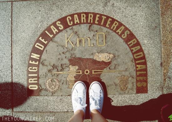 """Placa del """"kilómetro cero"""" de las carreteras nacionales radiales, en la Puerta del Sol"""