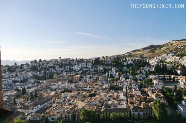 Vistas desde la Alhambra al antiguo barrio árabe Albaycín
