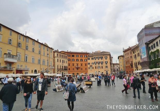 Artistas callejeros en Piazza Navona